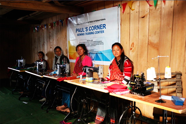 PAULS CORNER SEWING TRAINING CENTER IN THE REMOTE HIGH HIMALAYAS